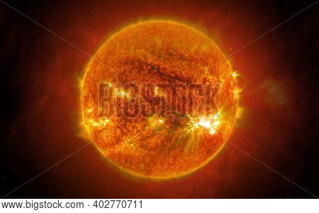View Of The Sun From Space. The Sun Is The Star At The Center Of The Solar System. Sci-fi Background