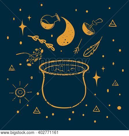 The Witchs Cauldron And Witch Signs. Illustration Of Magic. Creating A Potion. Occultism. Witchcraft