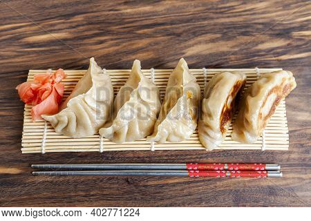 Gyoza. Ready For Eat. Japanese Version Of Dumplings. Shallow Depth Of Field. Close-up