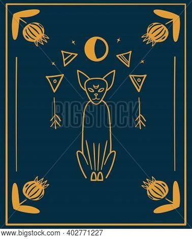 Black Cats, Night Sky With Moon And Stars. Frame For Sample Text. Magic, Occult Symbols. Witchcraft