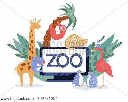 Zoo Online Virtual Tour Illustration. Animal Live Cam Translation In Laptop. Safari Cartoon Web Bann