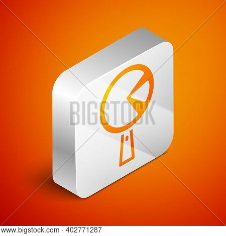 Isometric Omelette In Frying Pan Icon Isolated On Orange Background. Omelet In A Skillet. Silver Squ