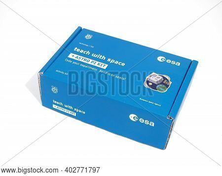 Galati, Romania - November 28, 2020: The Astro Pi Kit Box Prepared For The Astro Pi Mission Space La