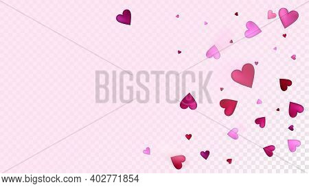 Red, Pink Hearts Vector Confetti. Valentines Day Romantic Pattern. Trendy Gift, Birthday Card, Poste