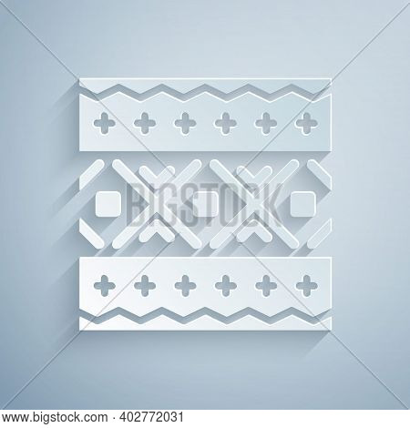 Paper Cut Ukrainian Ethnic Pattern For Embroidery Icon Isolated On Grey Background. Traditional Folk