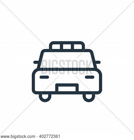 police car icon isolated on white background. police car icon thin line outline linear police car sy