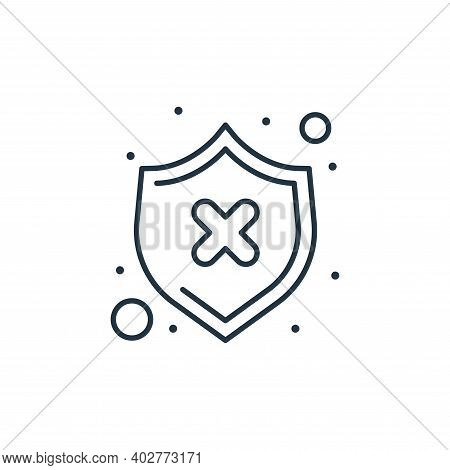 unsecured shield icon isolated on white background. unsecured shield icon thin line outline linear u