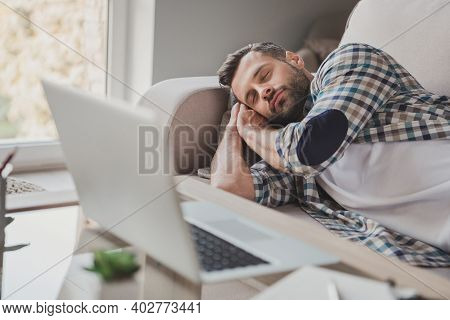Photo Of Young Handsome Man Sleep Dream Couch Home Rest Relax Break Pause Tired Overworked Comfort C