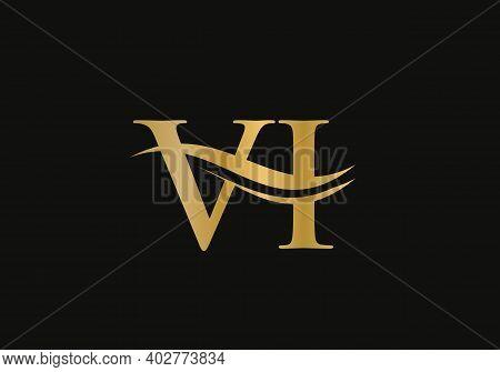 Premium Letter Vi Logo Design With Water Wave Concept. Vi Letter Logo Design With Modern Trendy