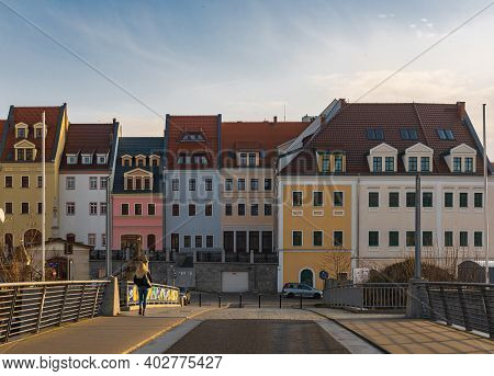 Zgorzelec Gorlitz January 27 2020 Line Of Old Tenement Buildings In Front Of Old Town Bridge