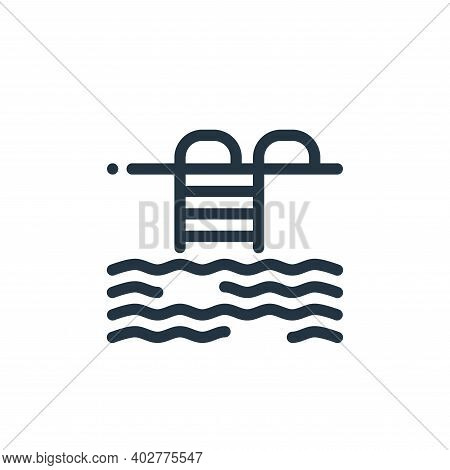 pool icon isolated on white background. pool icon thin line outline linear pool symbol for logo, web