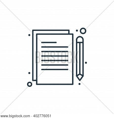 writing icon isolated on white background. writing icon thin line outline linear writing symbol for
