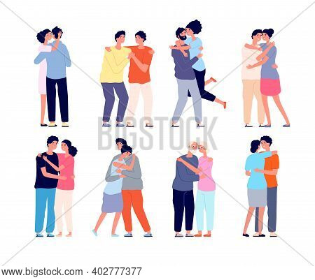 Hugging People. Embracing Person, Friends Support Each Other. Couple In Love Hug Together, Isolated