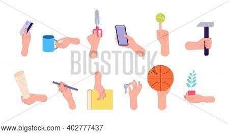 Different Poses Hands. Isolated Gestures, Arm Holding Pencil Book Key Cup. Flat Finger Wrist Positio