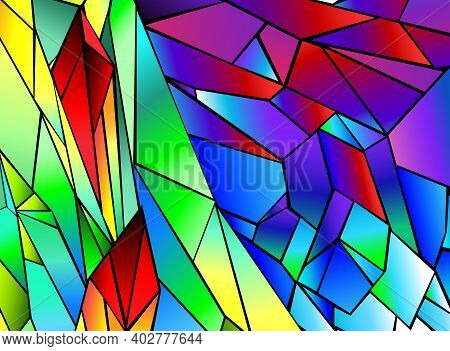 Bright, Saturated, Polygonal, Rainbow, Unusual Background. Abstract