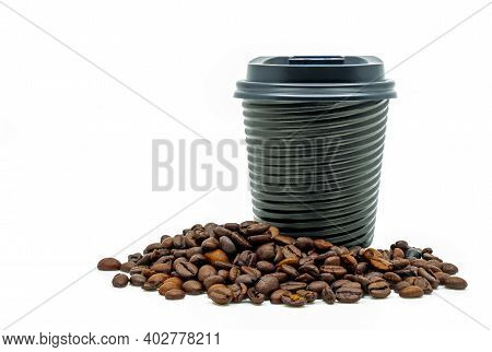 Beautiful Modern Design Takeaway Coffee Cup With Coffee Beans, Black Hot Cup With Spiral Texture And