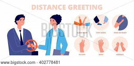 Safe Greetings. Distance Contact, No Handshake Or Alternative Protective Greet Methods. Feet Hit Or