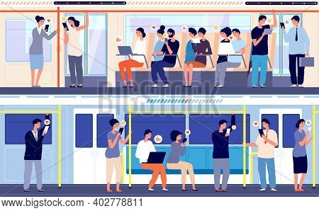 People In Public Transport. Crowd In Train, Person Using Gadgets In Subway Bus. City Transportation,