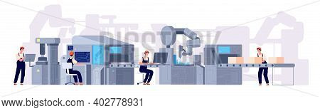 Production Line. Manufacturing Conveyor Belt, Industry Machines Factory Workers. Product Assembly Pr