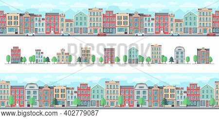 European City Street. Cute Suburban Buildings, Country Houses. Town Walking, Downtown Seamless Patte