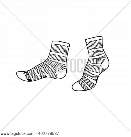 A Pair Of Socks Icons Isolated On A White Background From The Fashion Collection. A Pair Of Trendy A