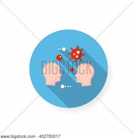 Close Contact Spread Flat Icon. Disease Spreading Concept. Covid19, Virus Disease, Influenza Airborn