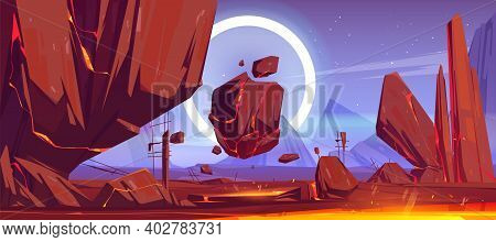 Alien Planet Landscape With Mountains, Flying Rocks And Red Lava In Cracks. Vector Cartoon Fantasy I