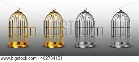 Bird Cages, Vintage Empty Birdcages Of Golden And Silver Colors, Metal Jails With Open And Closed Do