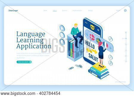 Language Learning Application Banner. Digital Online Education Service, Mobile App For Training Fore