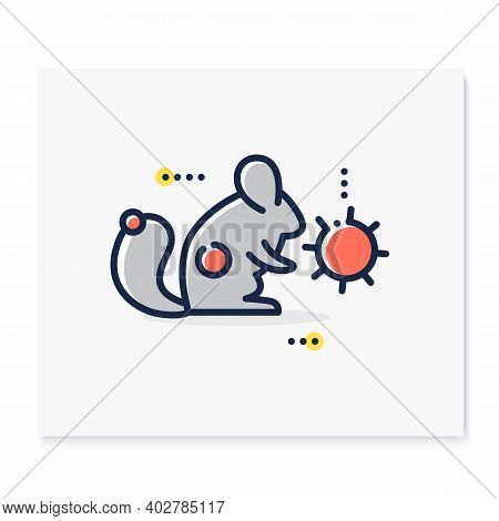 Carrier Animal Color Icon. Disease Spreading Concept. Covid19, Virus Disease Mutation And Transmissi