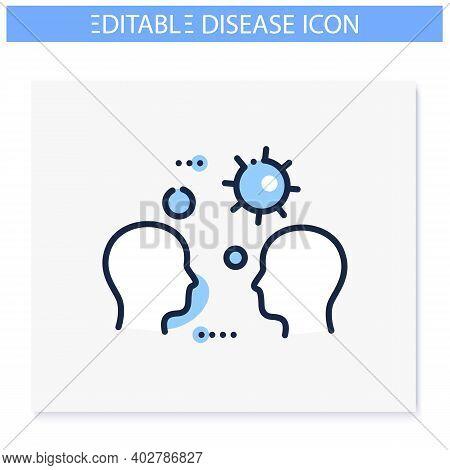 Close Contact Spread Line Icon. Disease Spreading Concept. Covid19, Virus Disease, Influenza Airborn