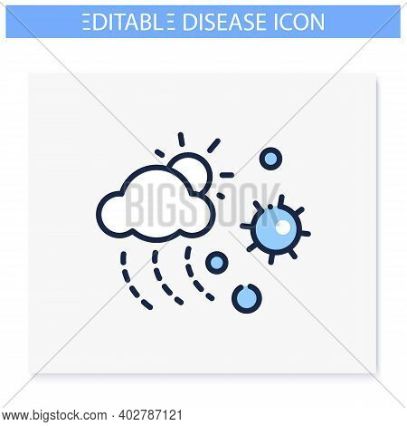 Virus Spread With Weather Line Icon. Disease Spreading And Air Pollution Concept. Droplet Spread In