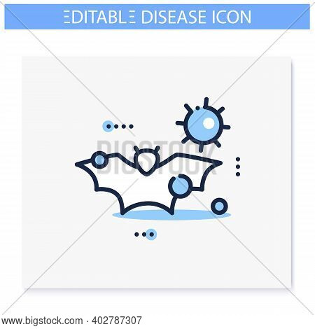 Carrier Animal Line Icon. Disease Spreading Concept. Covid19, Virus Disease Mutation And Transmissio
