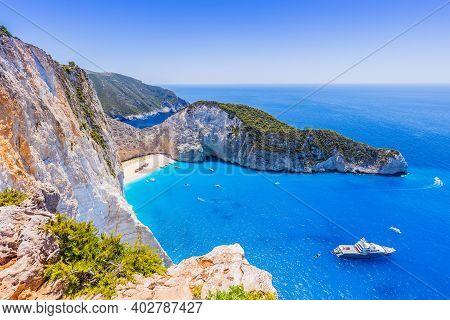 Zakynthos, Greece. Navagio Beach With Shipwreck On Zakynthos Island.