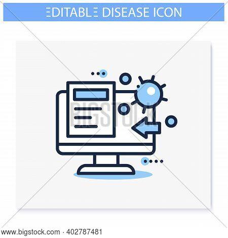 Spread Of Disease Education Icon. Covid19, Virus Disease, Influenza Transmission Study, Analysis. Te