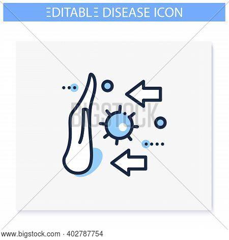 Disease Spread Stop Line Icon. Spreading Prevention Concept. Covid19, Virus Disease, Influenza Or Fl