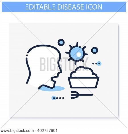 Food Infection Line Icon. Disease Spreading Concept. Covid19, Gastronomic Bacterial Infection, Rotav
