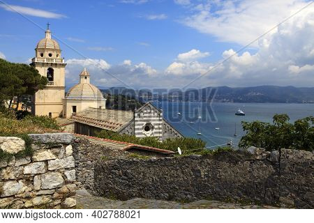 Portovenere ( Sp ), Italy - April 15, 2017: Church Of San Lorenzo, Portovenere, Gulf Of Poets, Cinqu
