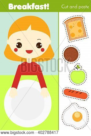 Cut And Paste Children Educational Game. Paper Cutting Activity. Make A Breakfast Food With Glue. Di
