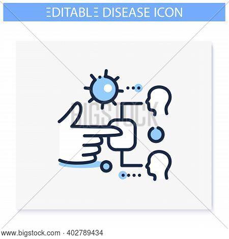 Infection Through Surface Line Icon. Disease Spreading Concept. Covid19, Virus Disease, Influenza Tr