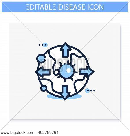 Global Virus Spread Line Icon. Disease Spreading Concept. Covid19 Pandemic, Infection Transfer. Infe