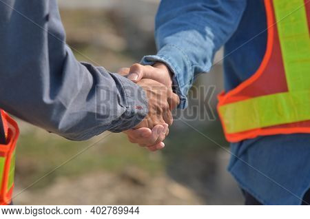 People Hands Shake Business Partnership Success, Shake Hand Concept, Shaking Hands With Engineers An