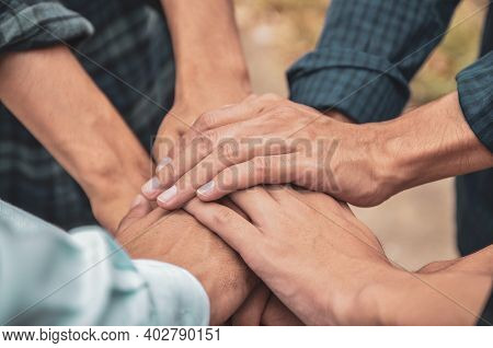 People With Their Hands Together, Teamwork Concept  , Community Concept