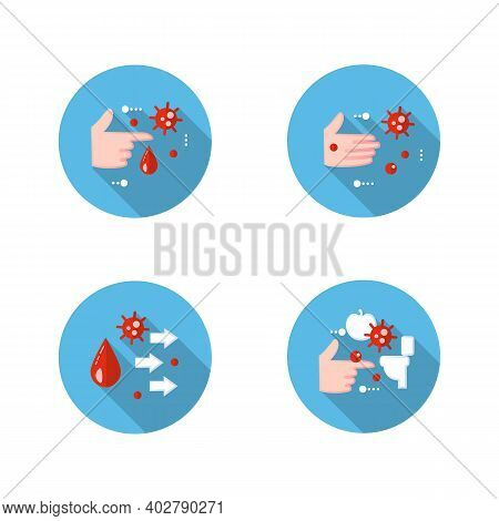 Disease Spread Concept Flat Icons Set. Contact Spreading. Covid19, Virus Disease, Influenza Or Flu T