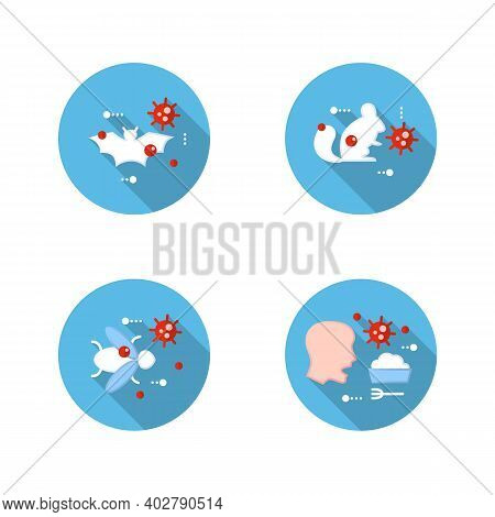 Disease Spread Concept Flat Icons Set. Covid19, Virus Disease Mutation And Transmission. Virus Carri