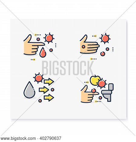 Disease Spread Concept Color Icons Set. Contact Spreading. Covid19, Virus Disease, Influenza Or Flu