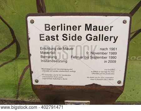 Berlin, Germany - March 01, 2020: The East Side Gallery