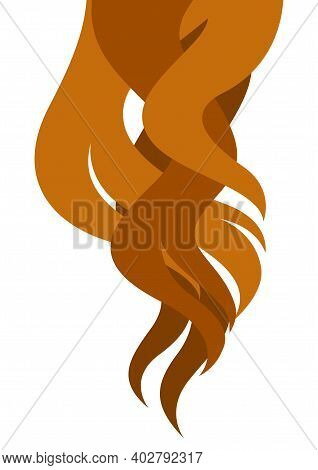 Illustration Of Curled Hair Strands. Concept For Beauty Or Hairdressing Salon.