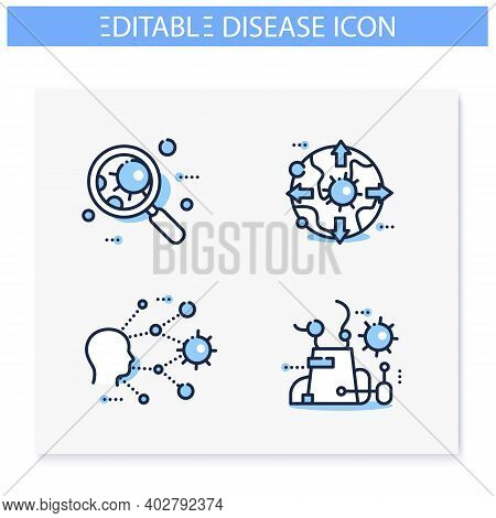 Spread Of Disease Concept Line Icons Set. Covid19, Virus Disease, Influenza Transmission Education S