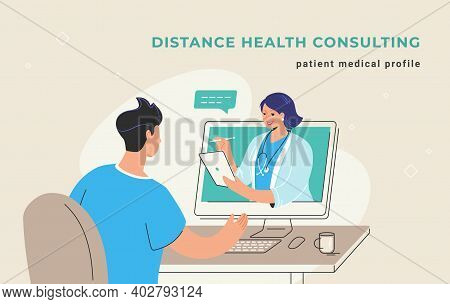 Distance Health Consulting And Patient Online Medical Profile. Young Man Sitting At His Desktop And